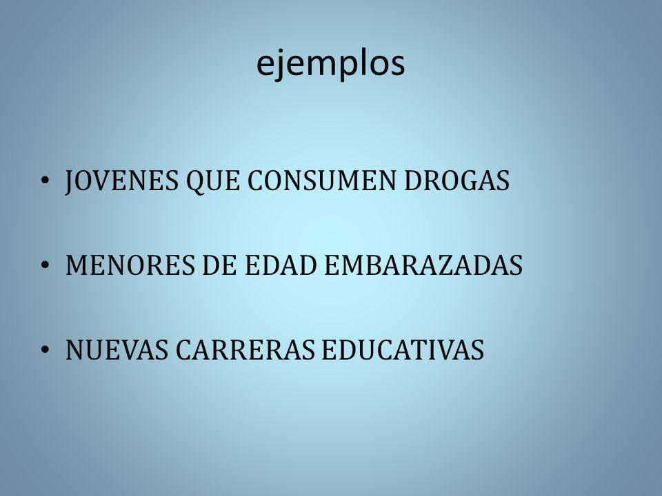 ejemplos JOVENES QUE CONSUMEN DROGAS MENORES DE EDAD EMBARAZADAS
