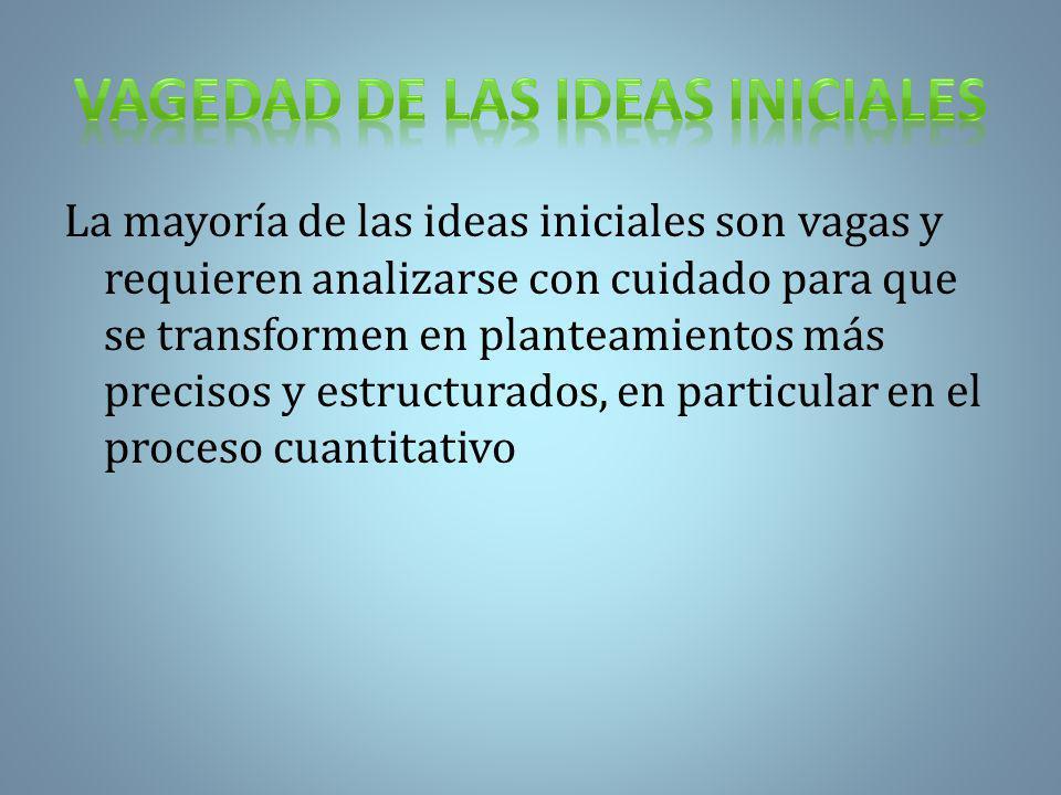 VAGEDAD DE LAS IDEAS INICIALES