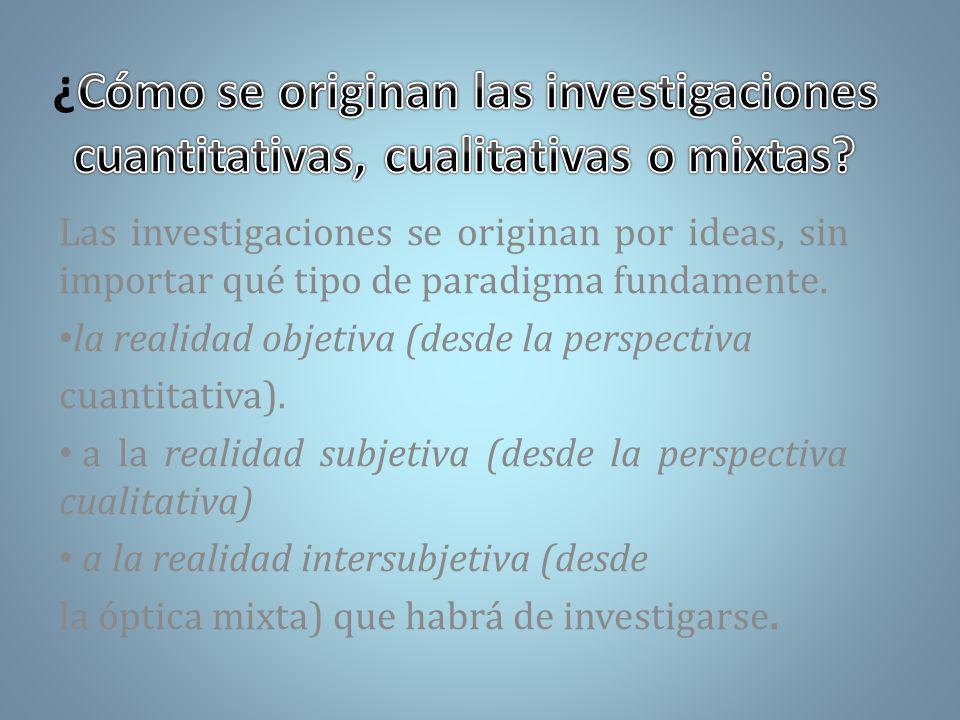¿Cómo se originan las investigaciones cuantitativas, cualitativas o mixtas