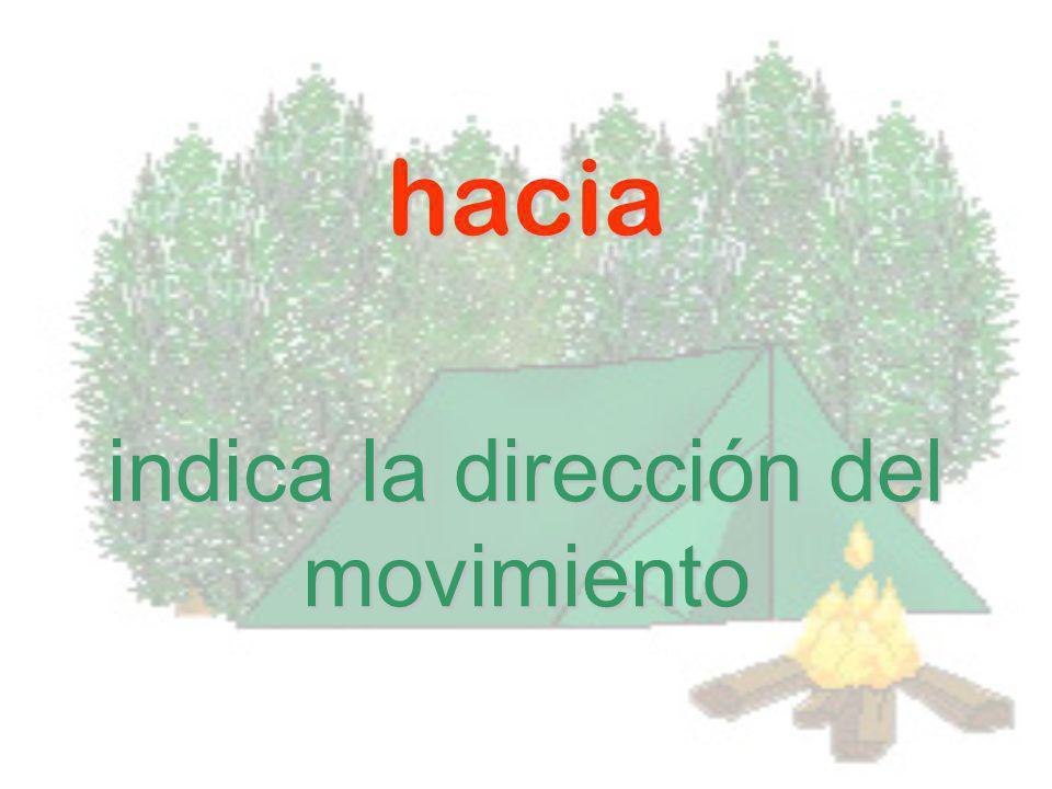 indica la dirección del movimiento