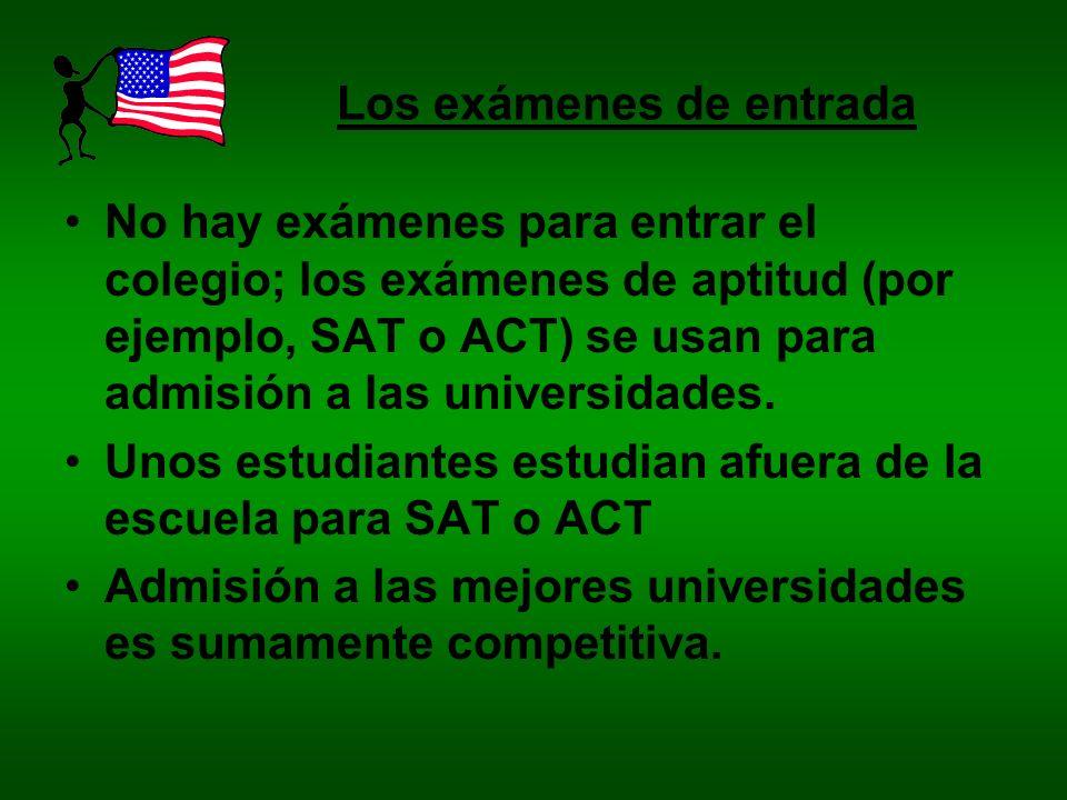 Los exámenes de entrada
