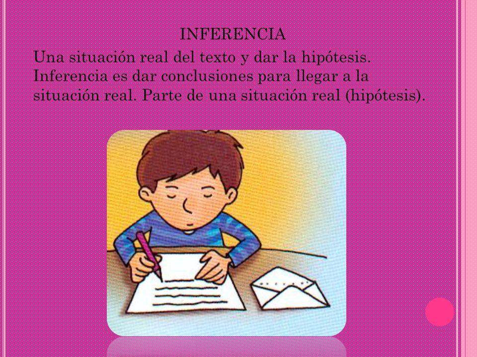 INFERENCIA Una situación real del texto y dar la hipótesis