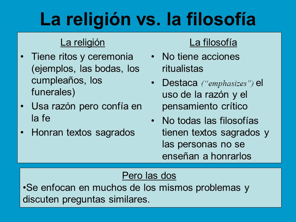 La religión vs. la filosofía