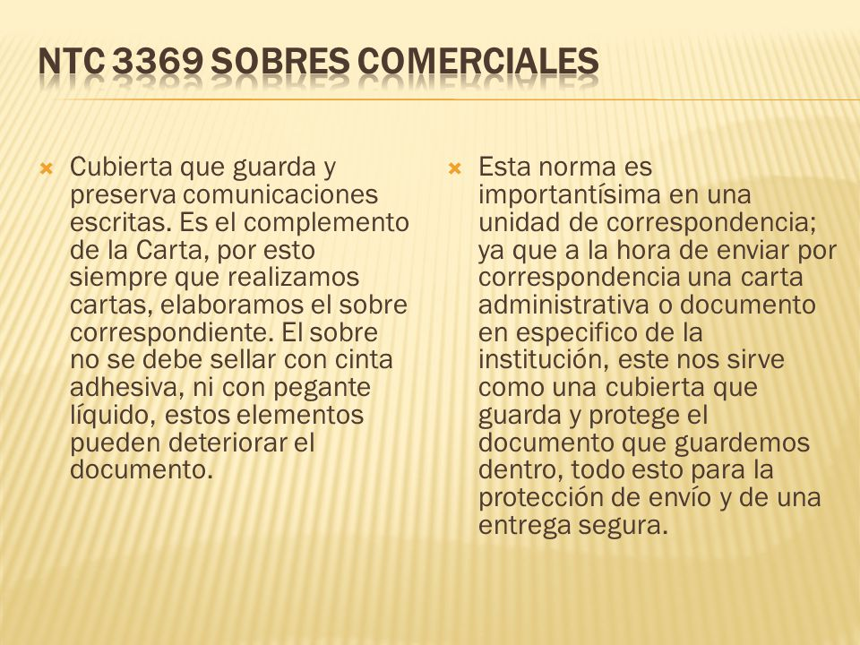 NTC 3369 SOBRES COMERCIALES