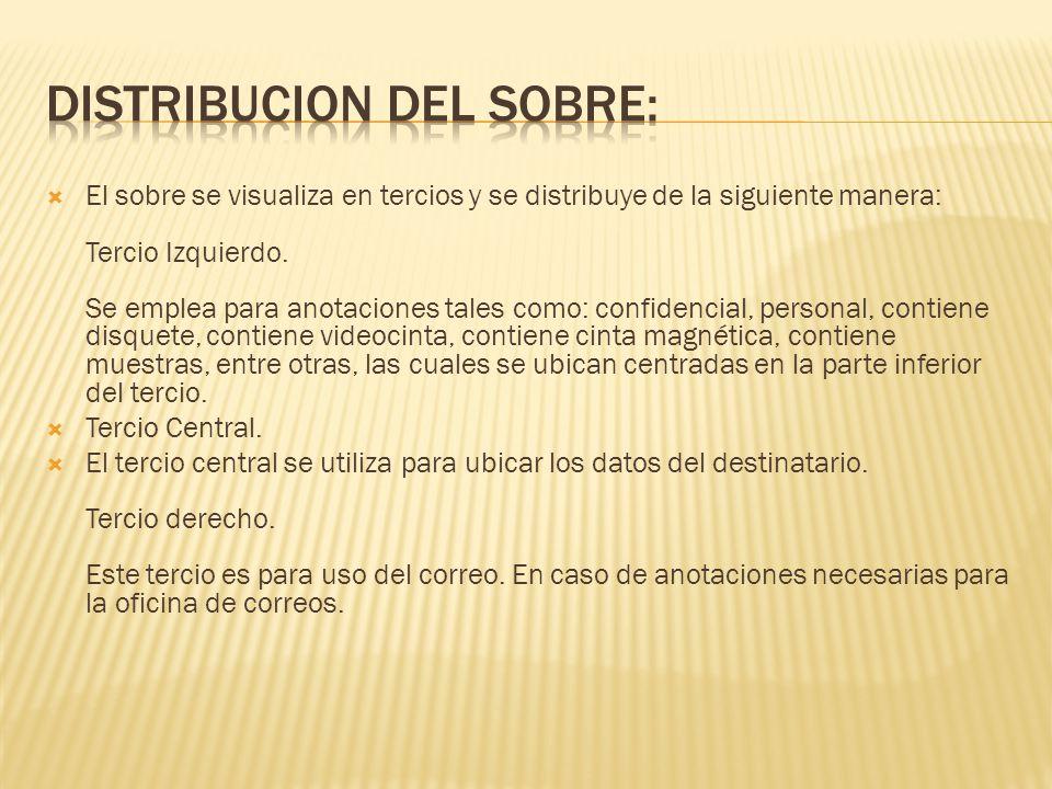 DISTRIBUCION DEL SOBRE:
