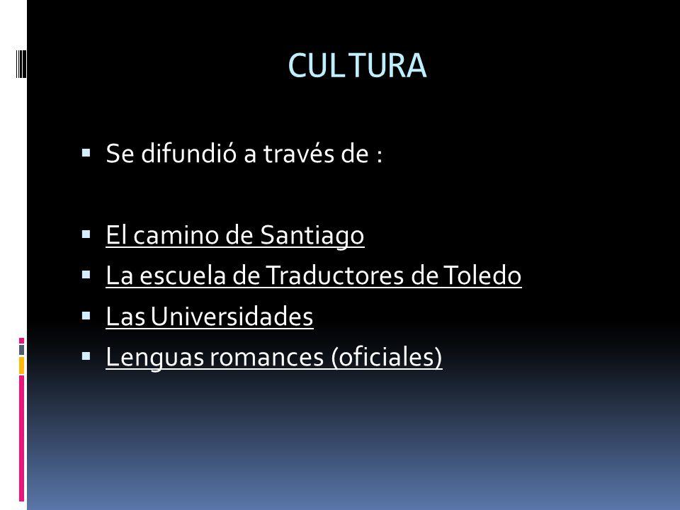 CULTURA Se difundió a través de : El camino de Santiago