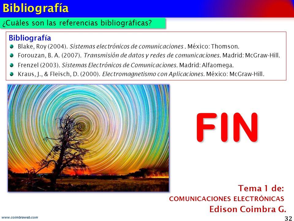 FIN Bibliografía Tema 1 de: Edison Coimbra G.