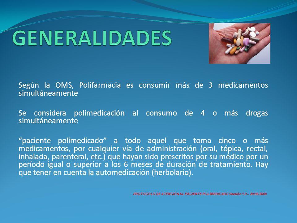 GENERALIDADES Según la OMS, Polifarmacia es consumir más de 3 medicamentos simultáneamente.