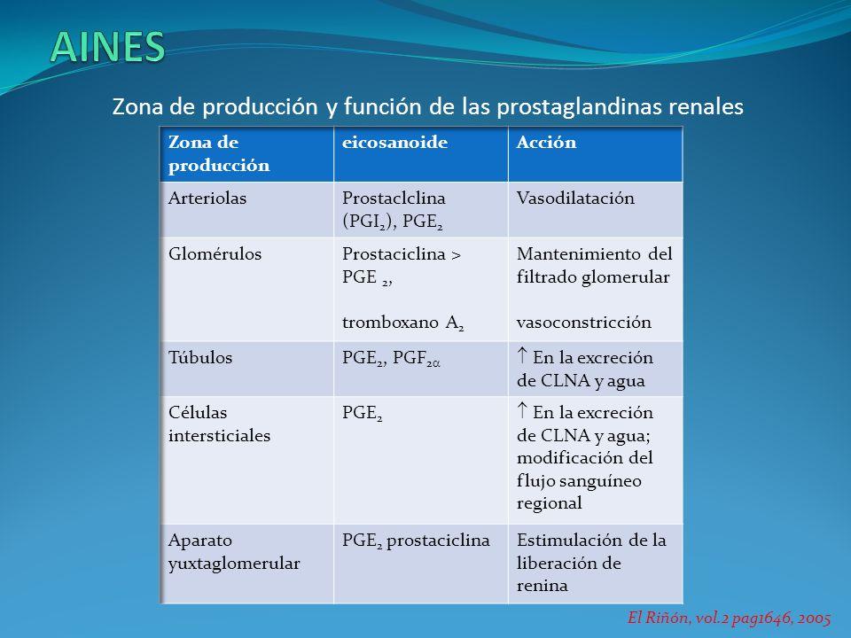 AINES Zona de producción y función de las prostaglandinas renales
