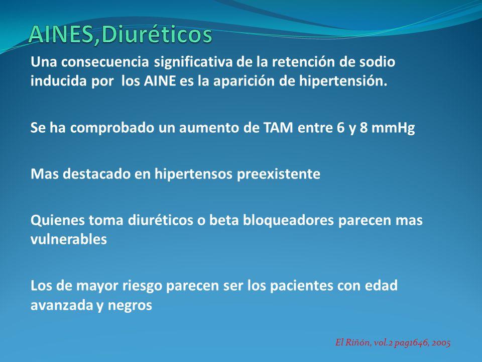 AINES,Diuréticos Una consecuencia significativa de la retención de sodio inducida por los AINE es la aparición de hipertensión.