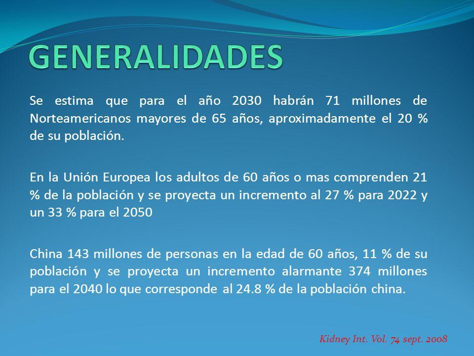 GENERALIDADES Se estima que para el año 2030 habrán 71 millones de Norteamericanos mayores de 65 años, aproximadamente el 20 % de su población.