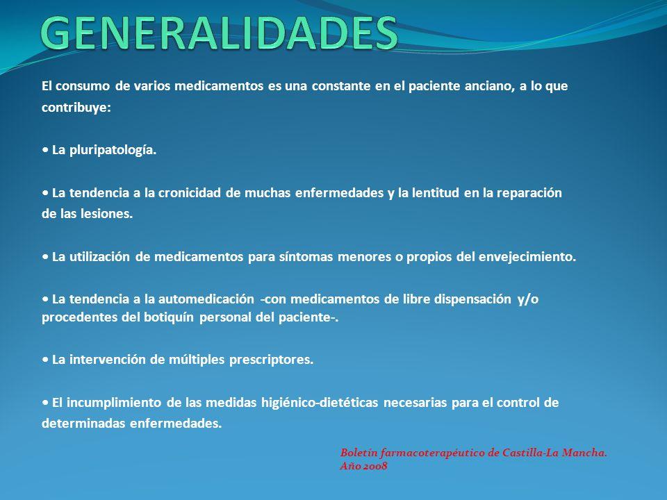 GENERALIDADES El consumo de varios medicamentos es una constante en el paciente anciano, a lo que. contribuye: