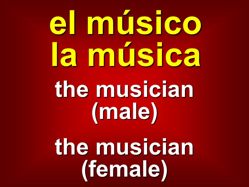 el músico la música the musician (male) the musician (female)
