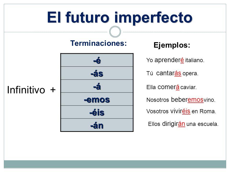 El futuro imperfecto Infinitivo + -é -ás -á -emos -éis -án