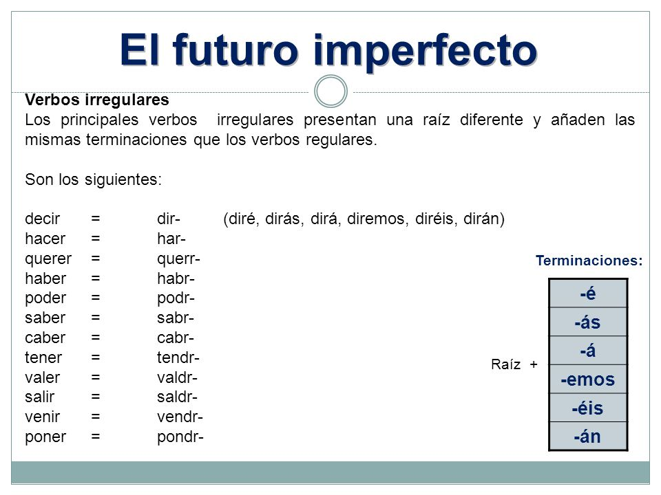 El futuro imperfecto -é -ás -á -emos -éis -án Verbos irregulares