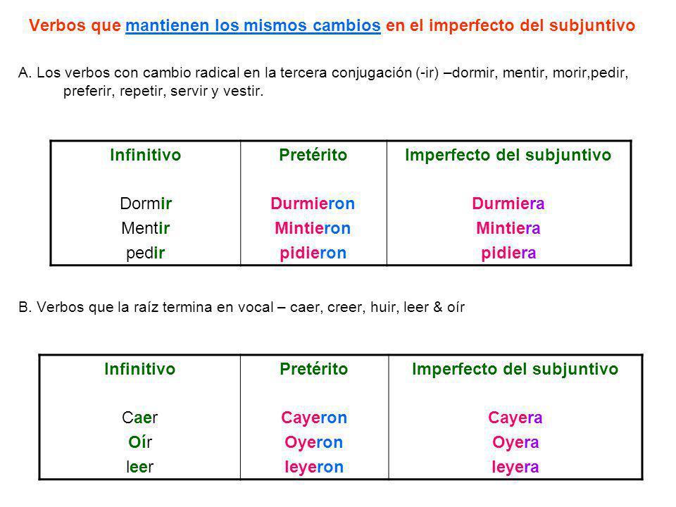 Imperfecto del subjuntivo Imperfecto del subjuntivo
