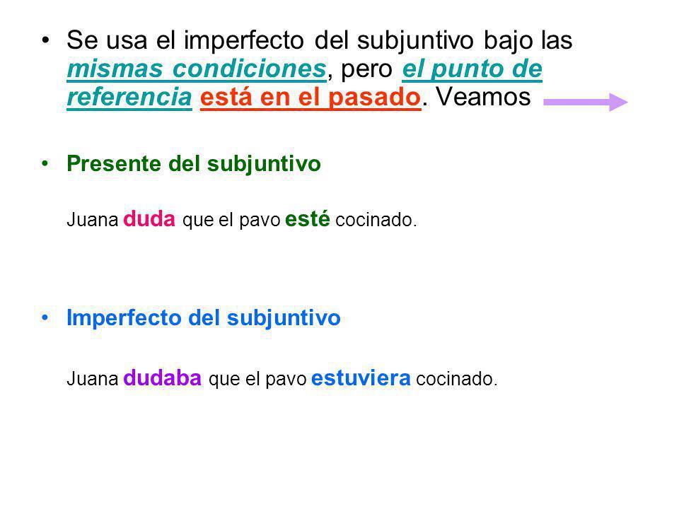 Se usa el imperfecto del subjuntivo bajo las mismas condiciones, pero el punto de referencia está en el pasado. Veamos
