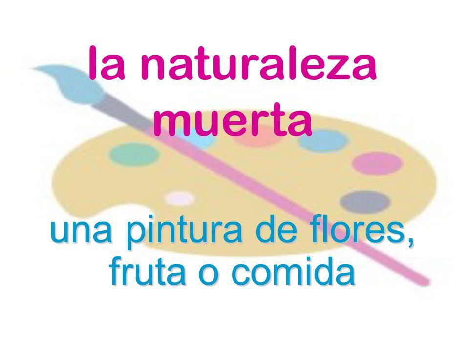 una pintura de flores, fruta o comida