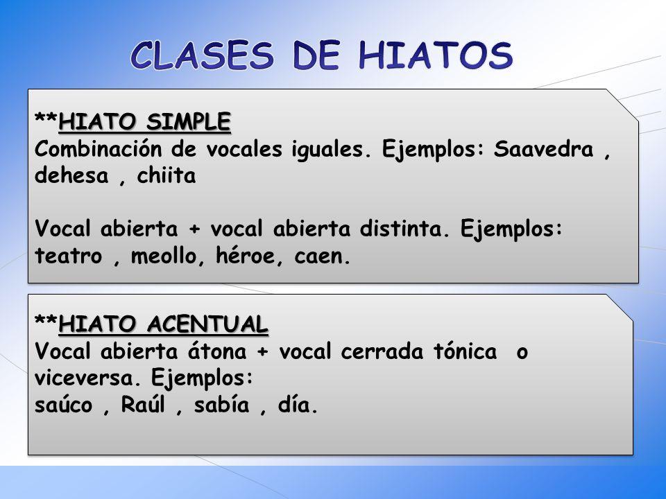 CLASES DE HIATOS
