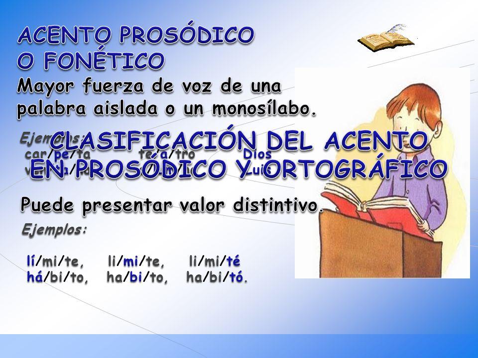 CLASIFICACIÓN DEL ACENTO EN PROSÓDICO Y ORTOGRÁFICO