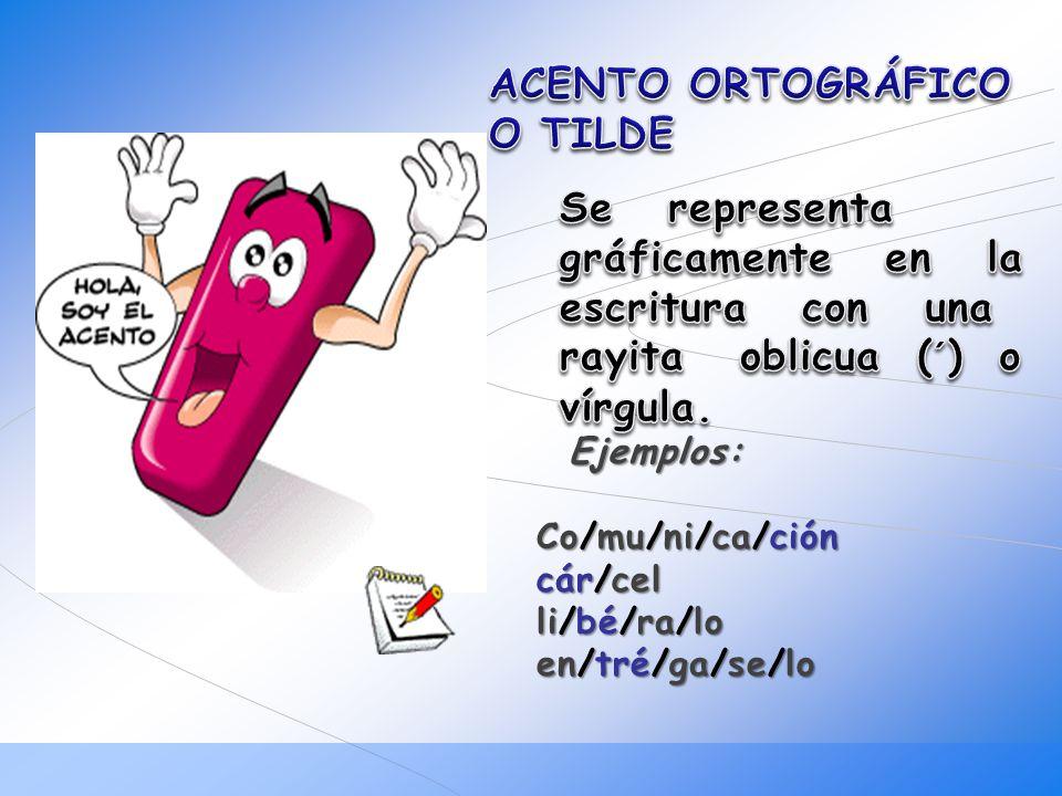 ACENTO ORTOGRÁFICO O TILDE