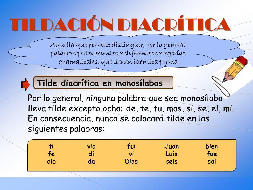 TILDACIÓN DIACRÍTICA Tilde diacrítica en monosílabos