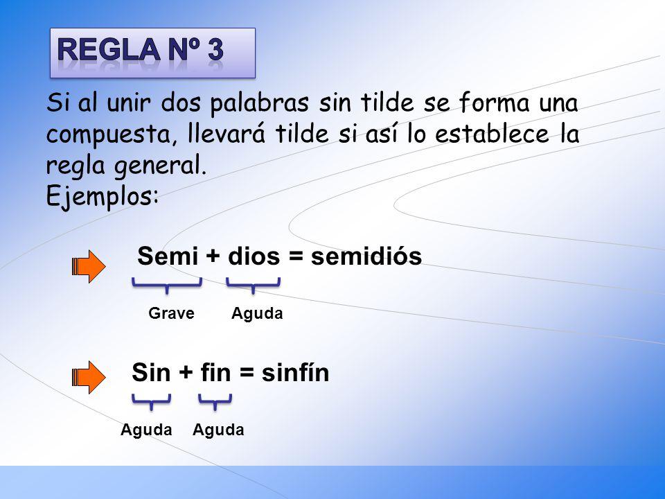 REGLA Nº 3 Semi + dios = semidiós Sin + fin = sinfín