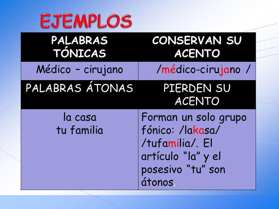 EJEMPLOS PALABRAS TÓNICAS CONSERVAN SU ACENTO Médico – cirujano