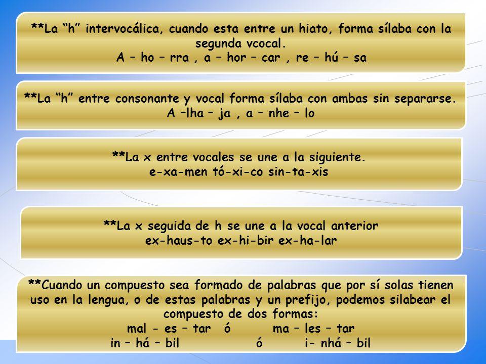 **La h intervocálica, cuando esta entre un hiato, forma sílaba con la segunda vcocal. A – ho – rra , a – hor – car , re – hú – sa
