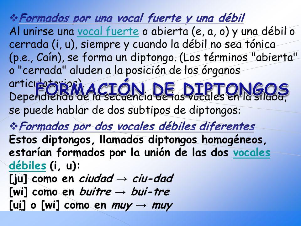 FORMACIÓN DE DIPTONGOS