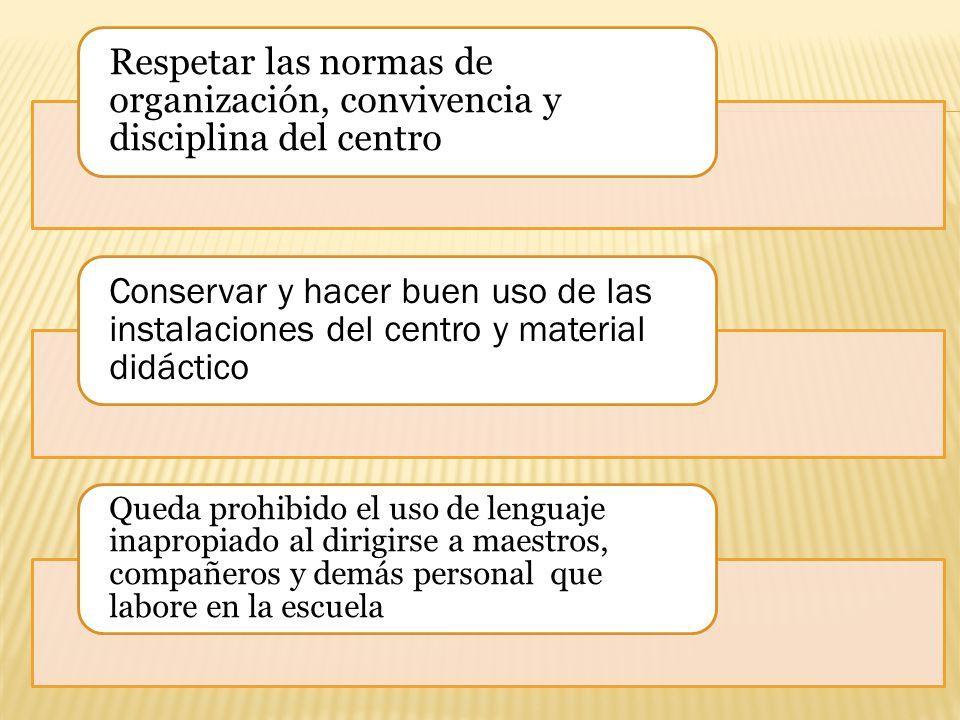 Respetar las normas de organización, convivencia y disciplina del centro