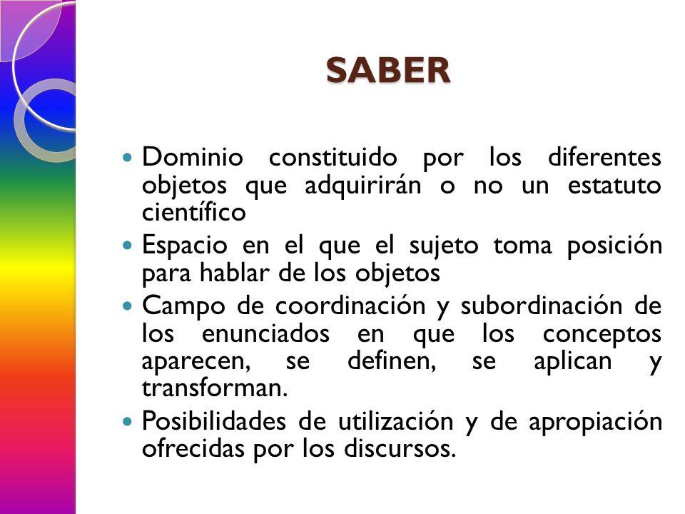 SABER Dominio constituido por los diferentes objetos que adquirirán o no un estatuto científico.