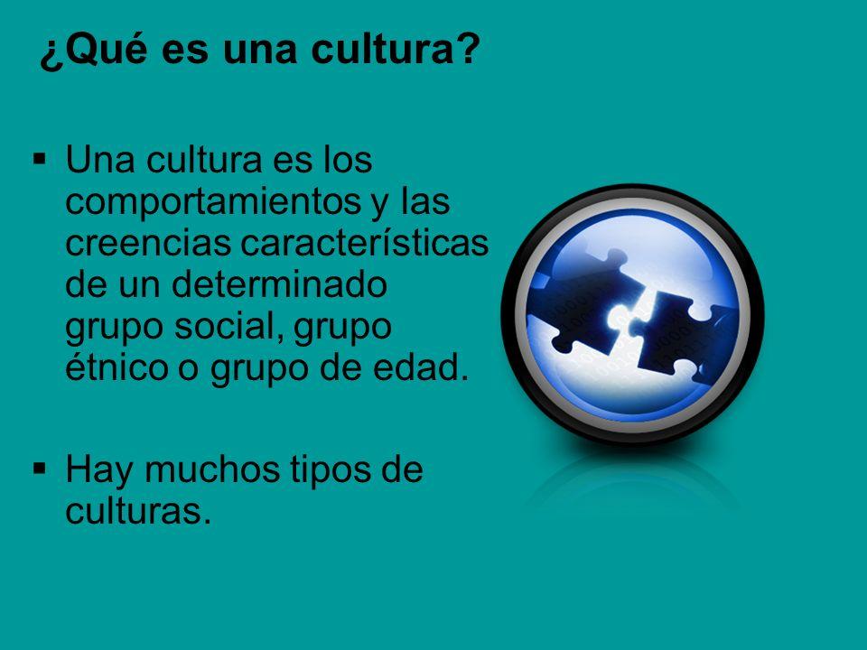 ¿Qué es una cultura Una cultura es los comportamientos y las creencias características de un determinado grupo social, grupo étnico o grupo de edad.