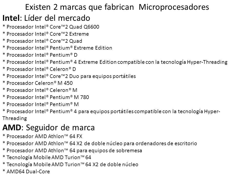 Existen 2 marcas que fabrican Microprocesadores