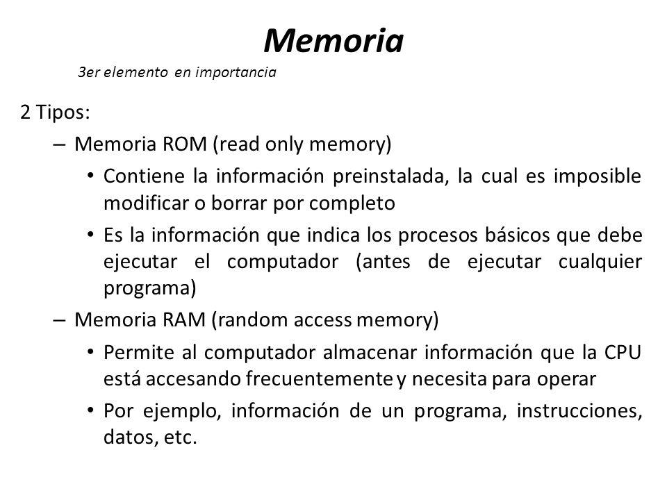 Memoria 2 Tipos: Memoria ROM (read only memory)