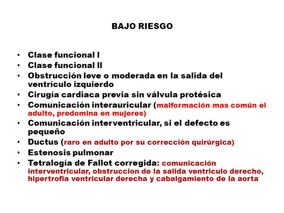 BAJO RIESGO Clase funcional l. Clase funcional ll. Obstrucción leve o moderada en la salida del ventrículo izquierdo.
