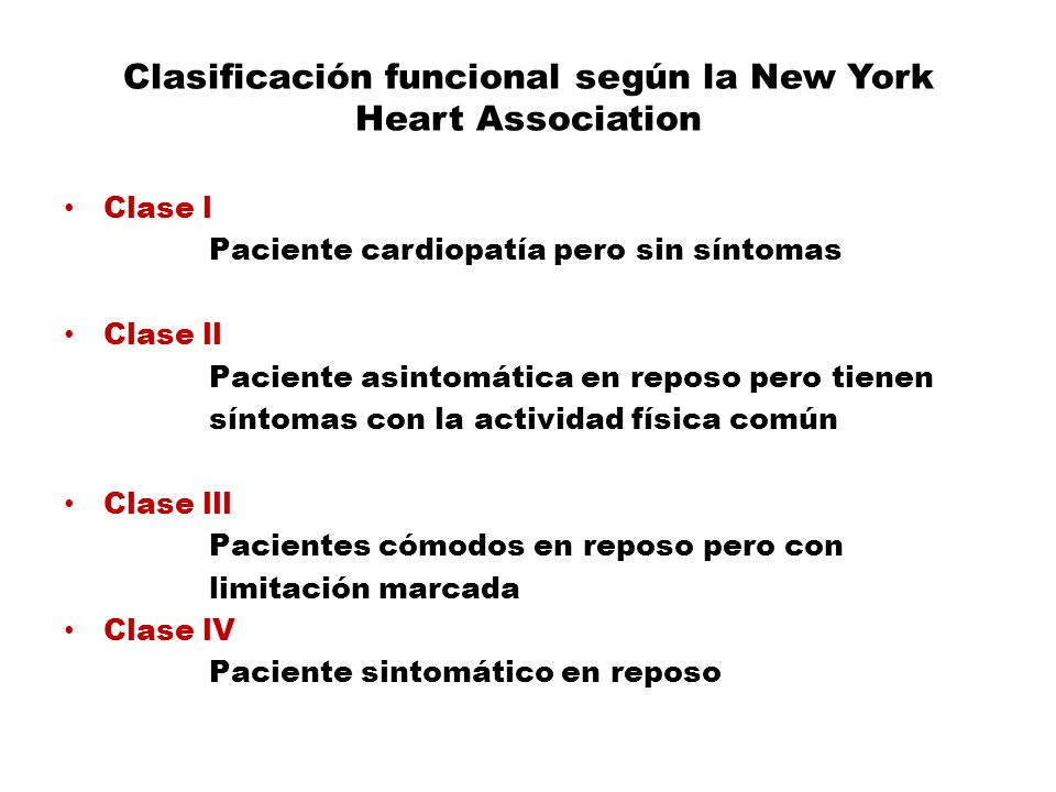 Clasificación funcional según la New York Heart Association