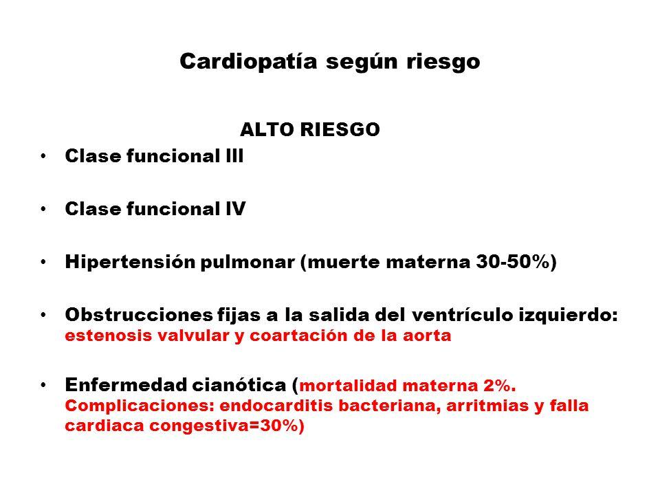 Cardiopatía según riesgo
