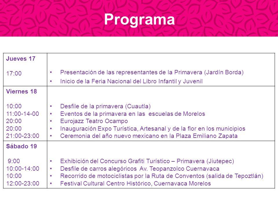 ProgramaJueves 17. 17:00. Presentación de las representantes de la Primavera (Jardín Borda) Inicio de la Feria Nacional del Libro Infantil y Juvenil.