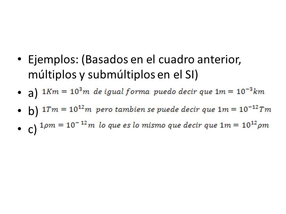 Ejemplos: (Basados en el cuadro anterior, múltiplos y submúltiplos en el SI)