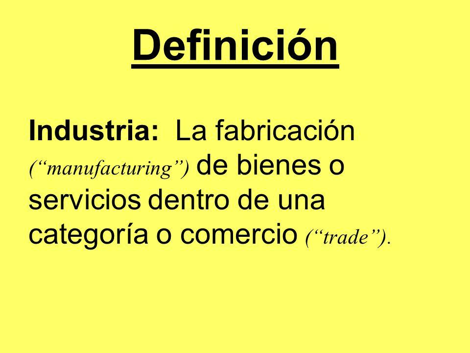 Definición Industria: La fabricación ( manufacturing ) de bienes o servicios dentro de una categoría o comercio ( trade ).