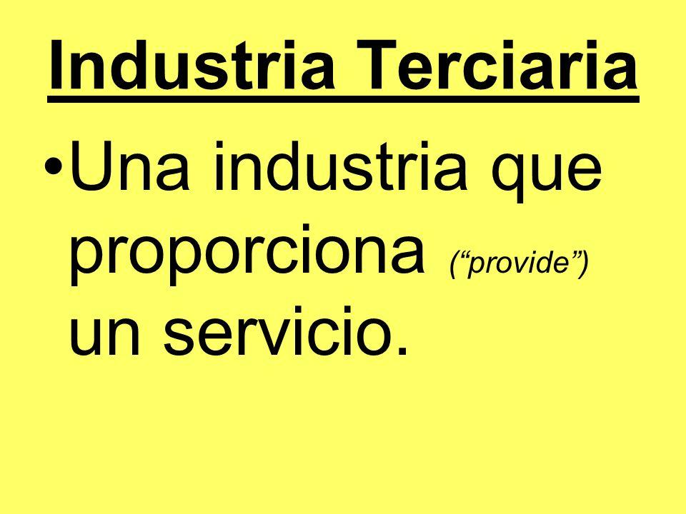 Industria Terciaria Una industria que proporciona ( provide ) un servicio.