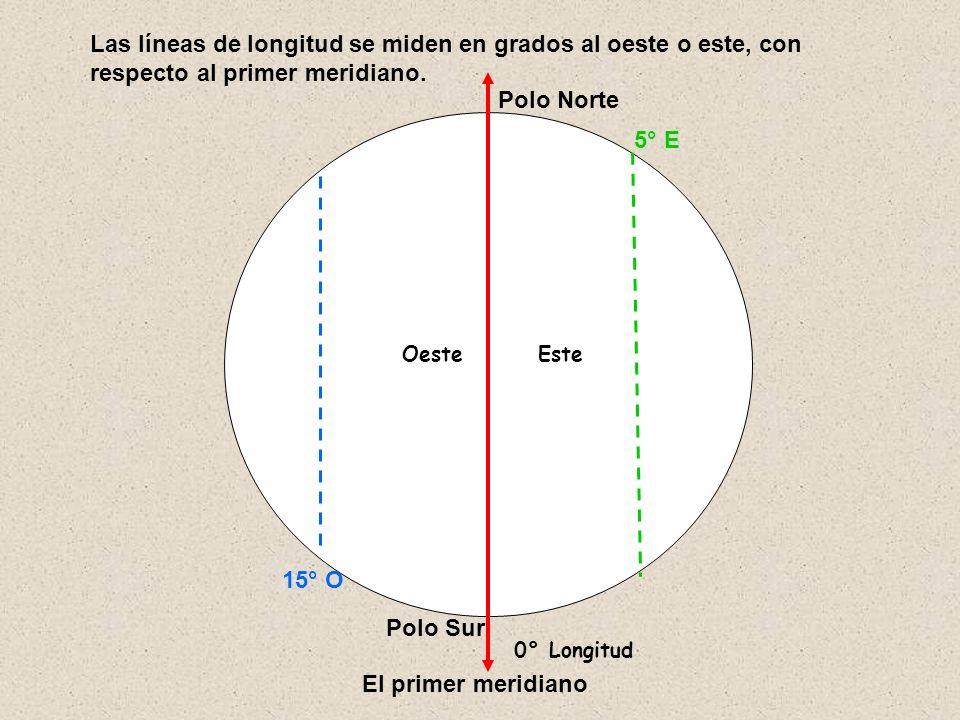 Las líneas de longitud se miden en grados al oeste o este, con respecto al primer meridiano.