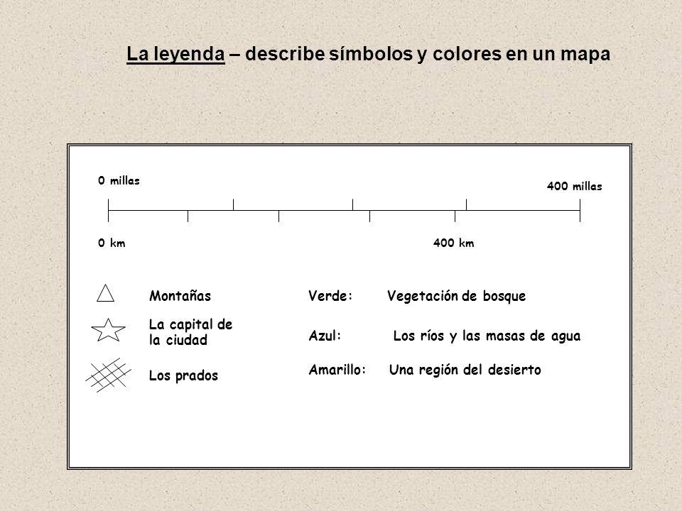La leyenda – describe símbolos y colores en un mapa