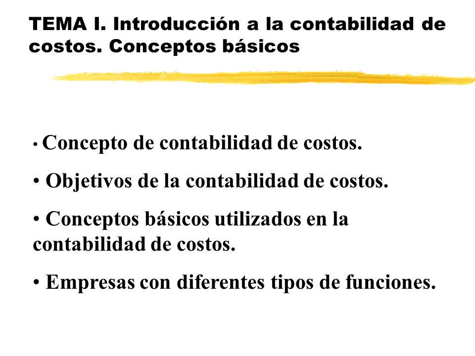 TEMA I. Introducción a la contabilidad de costos. Conceptos básicos