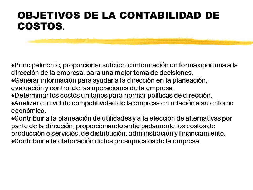 OBJETIVOS DE LA CONTABILIDAD DE COSTOS.