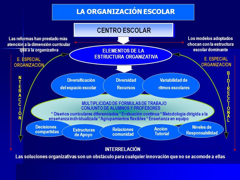 CENTRO ESCOLAR LA ORGANIZACIÓN ESCOLAR ELEMENTOS DE LA