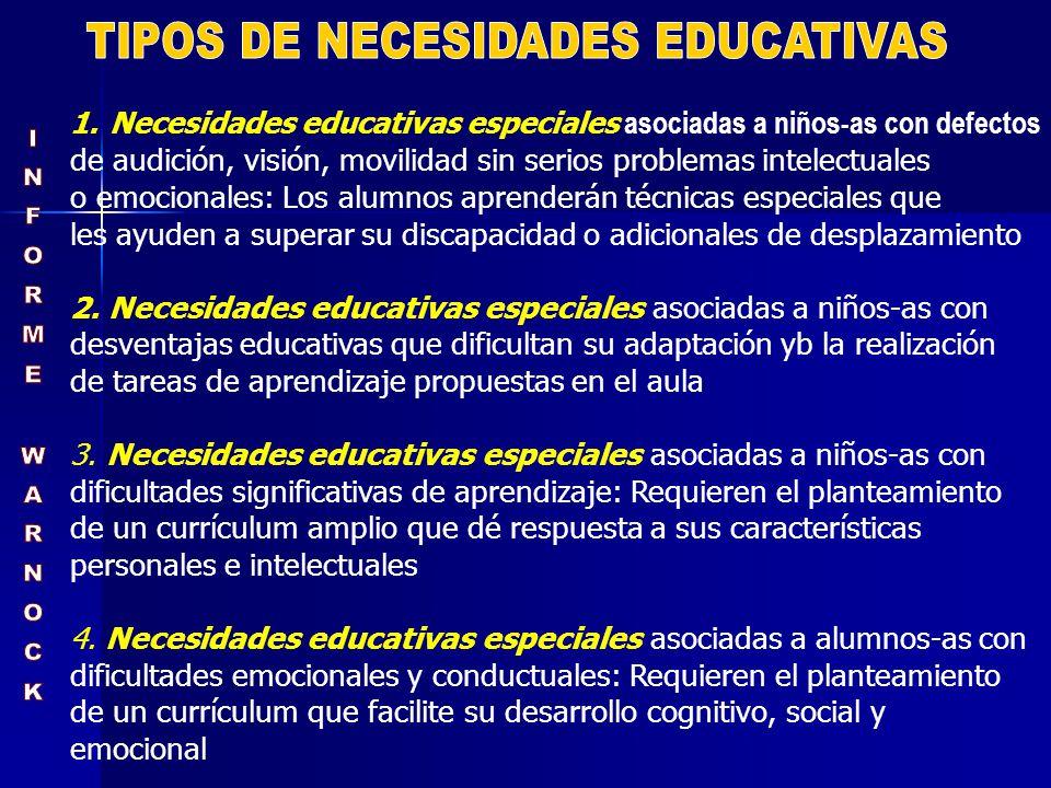 TIPOS DE NECESIDADES EDUCATIVAS