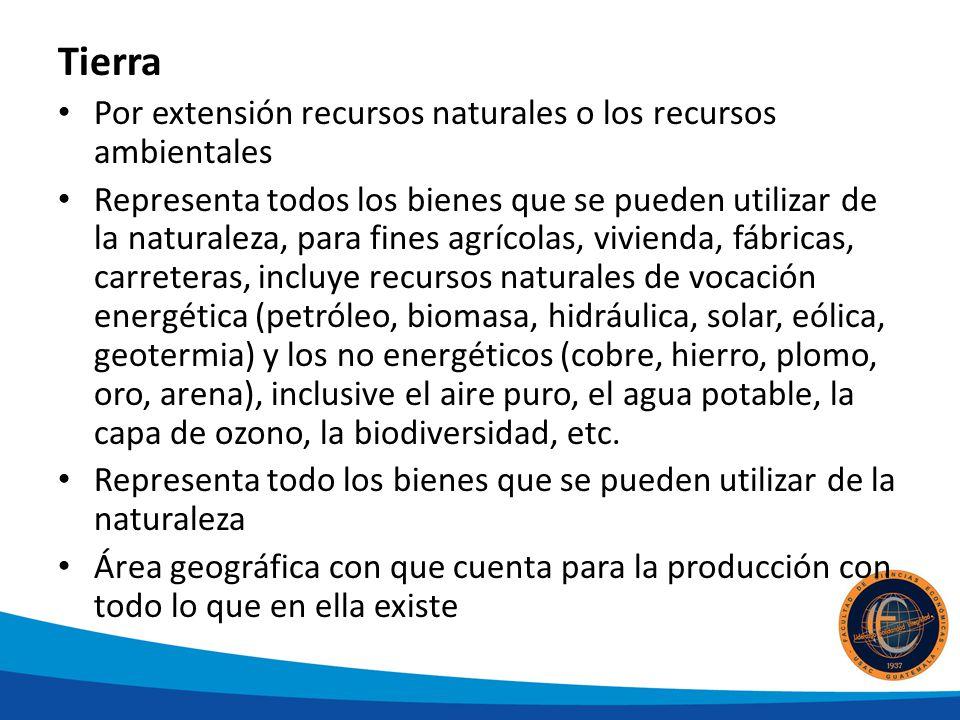 Tierra Por extensión recursos naturales o los recursos ambientales