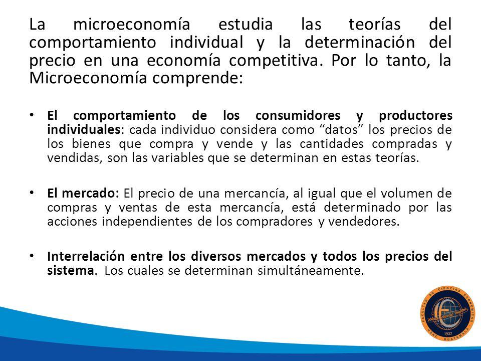 La microeconomía estudia las teorías del comportamiento individual y la determinación del precio en una economía competitiva. Por lo tanto, la Microeconomía comprende:
